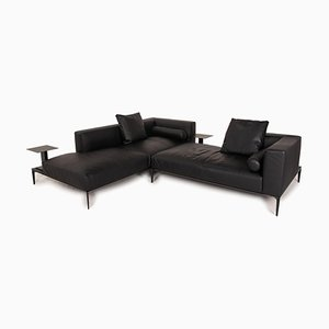 Black Leather Jaan Living Sofa from Walter Knoll / Wilhelm Knoll
