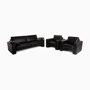 Black Leather Ego Set of 2-Seater Sofa & Armchairs by Rolf Benz, Set of 3