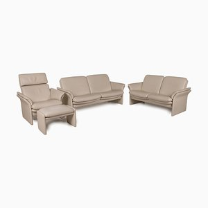 Chalet 2-Seater Sofas, Armchair & Stool in Cream Leather from Erpo, Set of 4