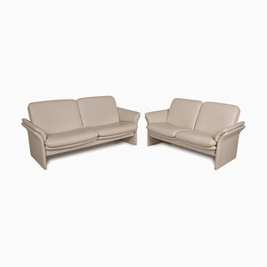 Chalet 2-Seater Sofas in Cream Leather from Erpo, Set of 2