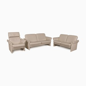 Chalet 2-Seater Sofas & Armchair in Cream Leather from Erpo, Set of 3