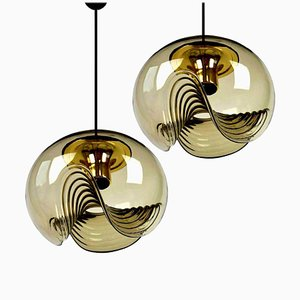 Smoked Glass Light Fixtures by Koch & Lowy for Peill & Putzler, 1970s, Set of 2