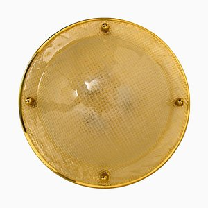 Textured Murano Glass Flushmount or Wall Lamp from Hillebrand, 1965