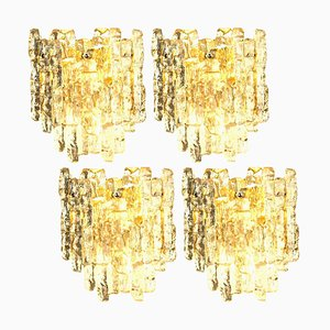 Ice Glass Wall Lamp with 2 Tiers from J. T. Kalmar, Austria, 1970s