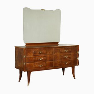 Dresser in Burl Veneer, Brass & Back-Treated Glass with Mirror, Italy, 1950s
