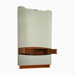 Vanity Table with Mirror in Burl Veneer, Back-Treated Glass & Brass, Italy, 1950s