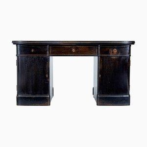 Early 20th Century Scandinavian Dark Oak Pedestal Desk