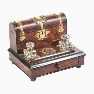 Antique Victorian Walnut Desk Tidy with Brass Mounts