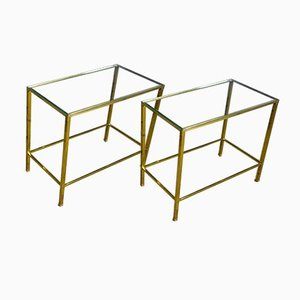 Vintage Brass Side Table with Glass Shelves, 1960s