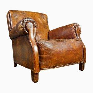 Vintage Distressed Sheep Leather Armchair in Brown