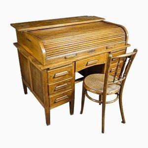 Vintage Oak Shuttered Desk, 1930s