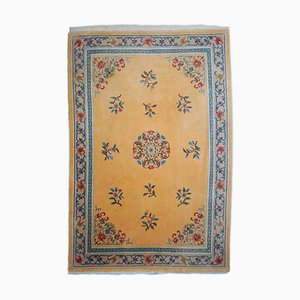 Floral Yellow Rug with Medallion and Border