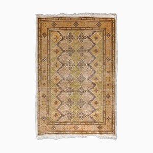 Floral Hereke Pure Silk Beige Rug with Border