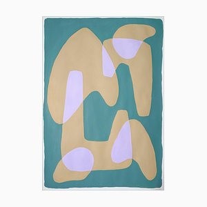 Tan Arches on Green, Abstract Geometric Painting, 2021