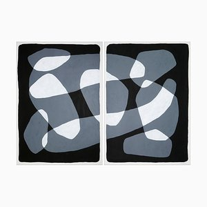Black and White Floating Rock Ovals Diptych, 2021