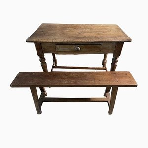 Antique English Elm Kitchen Dining Table