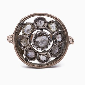 Antique 9K Gold Ring with Rosette Cut Diamonds, Early 1900s