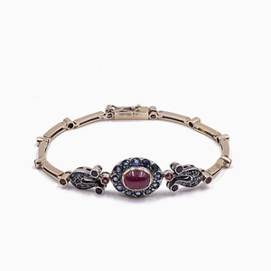 Vintage 14K Gold Bracelet with Sapphires and Rubies, 1960s