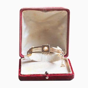 Antique 14K Gold Rigid Bracelet with Central Pearl, Late 800th Century