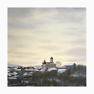 Claude Sauthier, Vue d'hiver sur le Chateau, Aubonne, 1980
