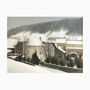 Claude Sauthier, Vue hivernale sur Romainmôtier, Switzerland, 1982