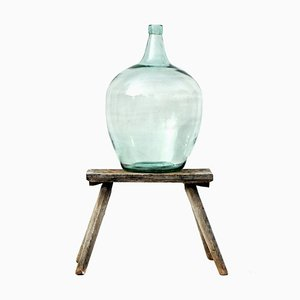 Large Antique Glass Demijohn with Blue and Green Color