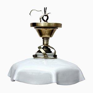 Small Antique Milk Glass Ceiling Lamp