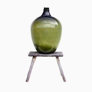 Antique Green Hand-Blown Glass Demijohn