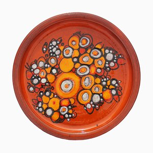Large Orange Plate by Elly and Wilhelm Kuch Pottery for Studio Ceramic