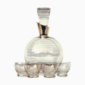 Art Deco Glass Carafe Spirits Set, 1930s