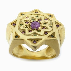Silver & Gold-Plated Ring with Rubies & Tsavorites by Vicente Gracia