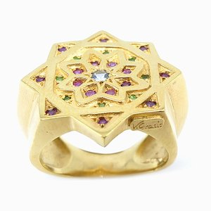 Silver & Gold-Plated Ring with Rubies & Aquamarine by Vicente Gracia