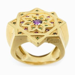 Silver & Gold-Plated Ring with Rubies, Amethyst & Tsavorites by Vicente Gracia