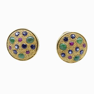 Silver & Gold-Plated Stud Earrings with Jade, Rubies & Sapphires by Vicente Gracia