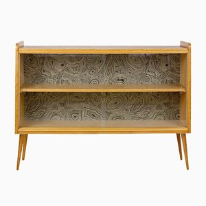 Restored Tatra Sideboard with Glass Sliding Doors and Motifs, 1960s