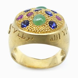 Silver & Gold-Plated Dome Ring with Jade, Rubies & Sapphires by Vicente Gracia