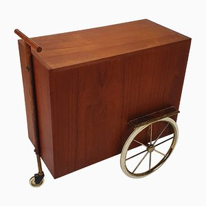 Mid-Century French Teak and Leather Serving Trolley, 1950s