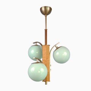 Bauhaus Ceiling Lamp with 3 Blue Glass Globes, Sweden, 1930s or 1940s