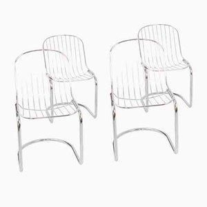 Italian Chrome Chairs, 1970s, Set of 4