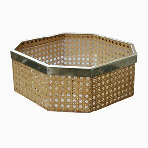 Hexagonal Box or Tray in Lucite, Straw and Brass in the Style of Gabriella Crespi, Italy