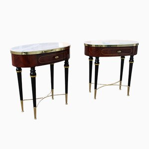 Oval Nightstands in Onyx, Rosewood and Brass by Paolo Buffa, Italy, 1950s, Set of 2