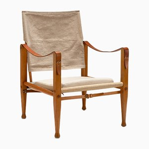 Oatmeal-Colored Linen Safari Chair by Kaare Klint for Rud. Rasmussen, Denmark, 1950s