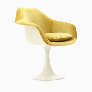 Armchair in Fiberglass and Ocher-Colored Fabric, 1960s