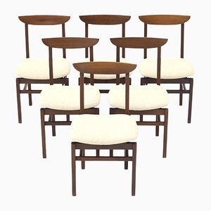 Chairs in Wood and Cream-Colored Fabric, 1960s, Set of 6