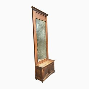 Large Antique Hall Mirror in Oak