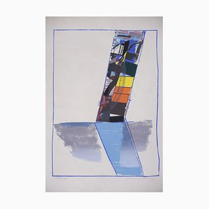 Abstractive Modern Colored Lithograph by Hardy Strid, 1950s