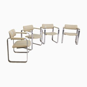 Chairs Attributed to Giuseppe Pagano in Steel and Fabric, Set of 4
