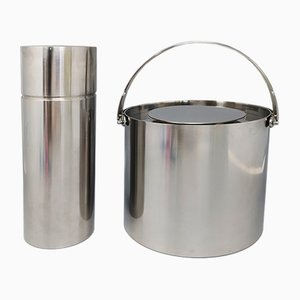 Stainless Steel Cocktail Shaker with Ice Bucket by Arne Jacobsen for Stelton, 1960s, Set of 2