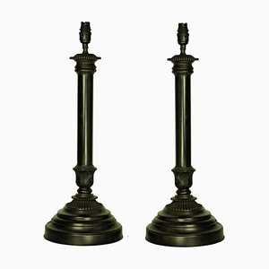 Vintage Bronzed Metal Table Lamps, Set of 2