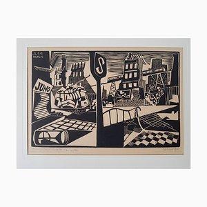 Art Linocut by Jaroslav Lukavská, Berlin, 1944